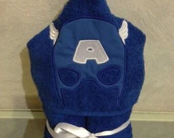 Blue Superhero Hooded Towel