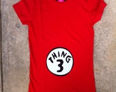Custom boutique. Dr.Seuss Thing Mom maternity shirt. Thing 1, 2, any number. Hand cut & hand sewn applique. red shirt. By EverythingSorella
