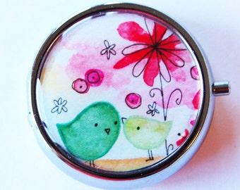 Round Pill case, Pill case, Bird, Pill Box, Pill Container, Bird, Gift for her, bird pill case, flower pill case, Round pill box (1743)