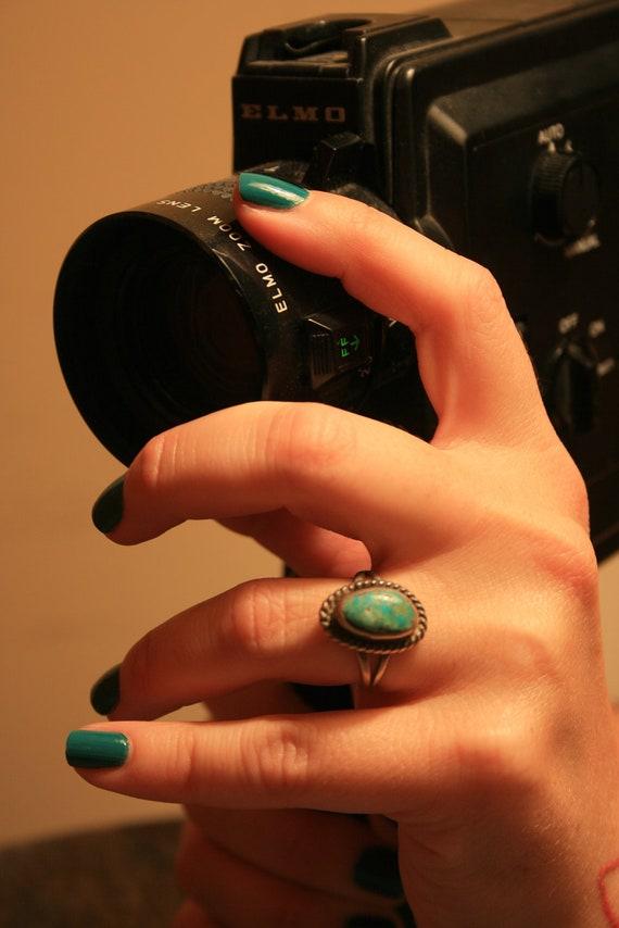 Vintage Turquoise Ring - Southwestern Style - Native American - Size 7 - Black Friday Sale - BrandosFunkyFinds