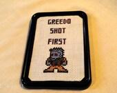 Greedo Shot First Framed Star Wars Cross Stitch Fridge Magnet