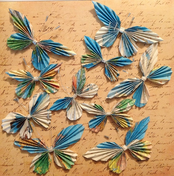 Set of Ten (10) Pleated Paper Butterfly Embellishments Wall Decor Butterfly Wings Package Toppers