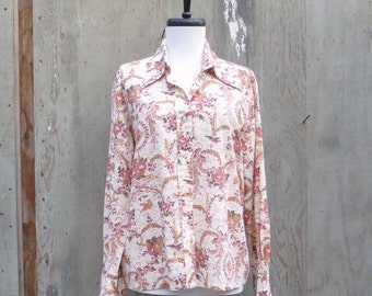 1970s Floral Print Cowboy Shirt