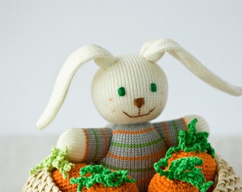 Baby Bunny, Knitted Toy - Easter gift, knitted animal, baby toy, baby shower gift - FrejaToys