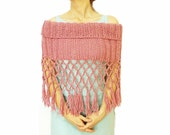 Knitting Shoulder Wrap Hand Knitted.. Its Pink and very Fashionable... Pink shawl- Fringed shawl- Knitting shawl