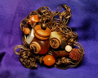 OOAK African Brown Gold Orange Brooch for Belt or Coat