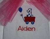 Red Wagon Birthday Bodsuit /Shirt - Customized with Name, additional colors available