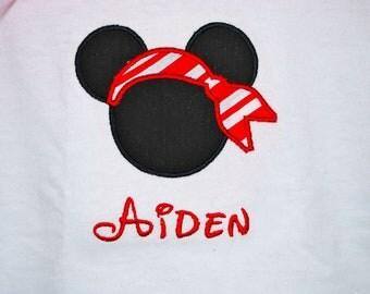 Boy's Mickey Mouse Pirate Ears TShirt or Bodysuit with Disney Font Name