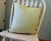 Pillow 23: green and cream geometric woven pillow cover with insert.  20 inch square