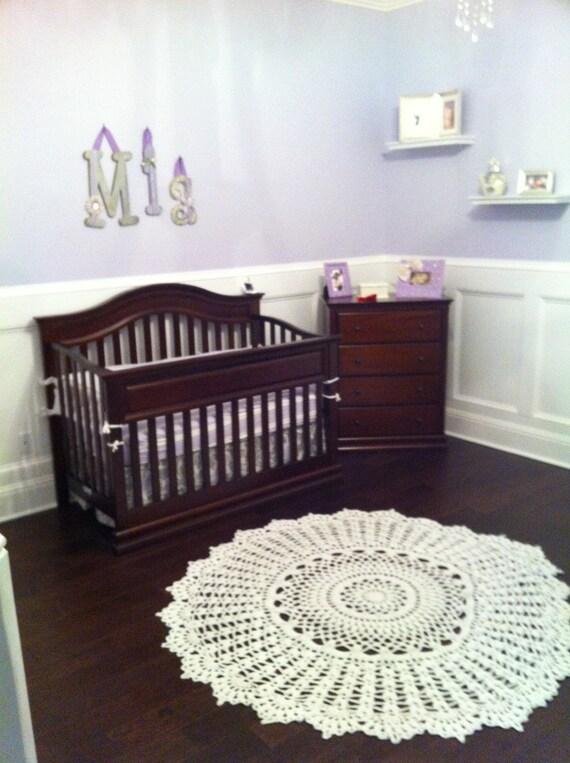 Giant Doily Rug Baby Nursery Rug 60 Inch White or Ivory Natural Unisex Boy or Girl Crochet Rug Outdoor Rug