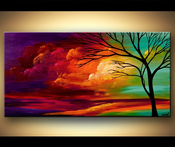 Landscape Tree Painting Original Abstract Contemporary Modern - photo#10