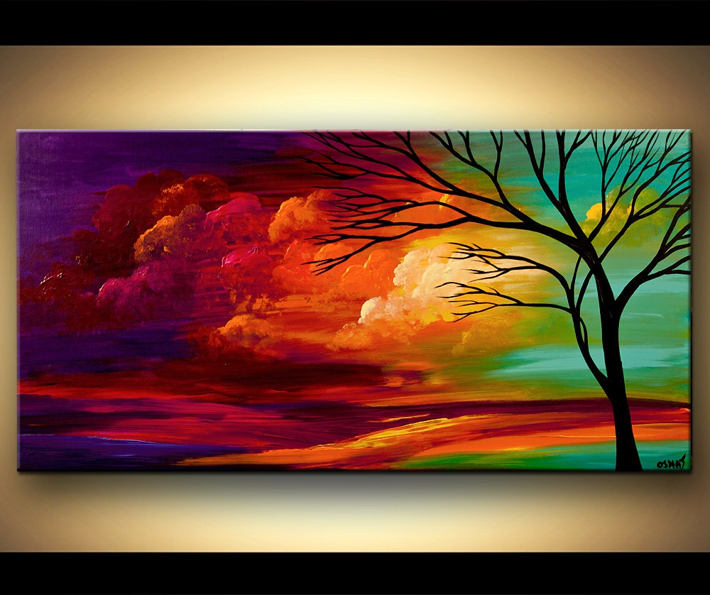 Landscape tree painting original abstract contemporary modern for Contemporary mural