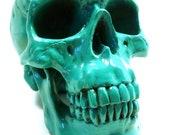 anatomy, skull head, kelly green, medical, tribal, art, modern sculpture, home decor