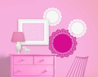 Doily Nursery Wall Decals - Set of 3 - Incredibly Detailed Doilies - Monogram Nursery Decor - Removable Sticker Wall Mural