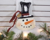 "Primitive Snowman Ornament ""Mr. Frosty"" Prim Christmas Winter Ornie"