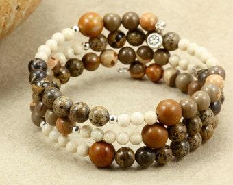30% OFF SALE Jasper Memory Wire Bracelet with Hill Tribe Silver, Brown Bracelet, Jasper Bracelet, Wrap Bracelet, Boho Bracelet