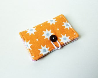 Orange White Star Fabric Business Card Holder, with Orange, Pink, Yellow Circles - Credit Card Holder, Cloth Card Holder