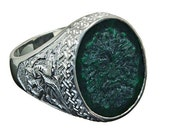 Special For M..Deposit only..Jade Ring Hand Carved Greenman With Celtic Dragon Shoulders in Sterling Silver .