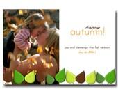 Custom Photo Fall Autumn Leaves Thanksgiving Card  - You Print
