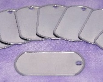 Dog Tag Silver Color 2x1-1/8 inch (Pkg of 10)
