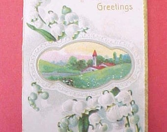 Pretty Edwardian Era Card with Embossed Lily of the Valley Design