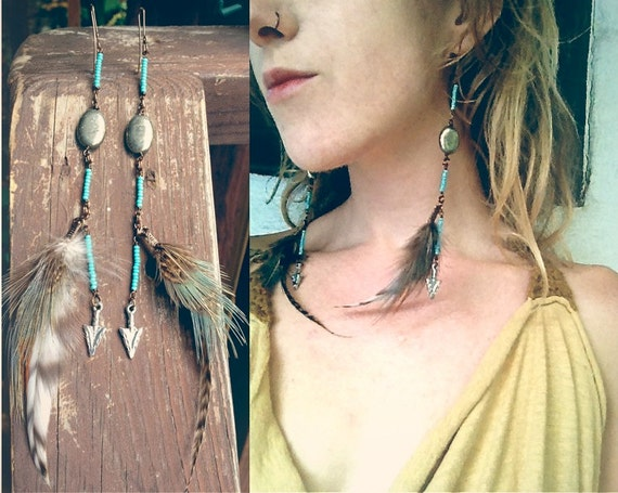 manifest your destiny. feathered artisan earrings. 'in stock/ ready to ship'