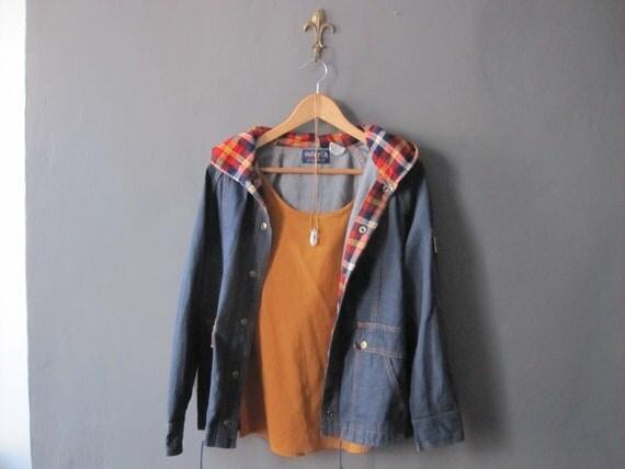 SALE vintage hooded denim coat, was 55.00
