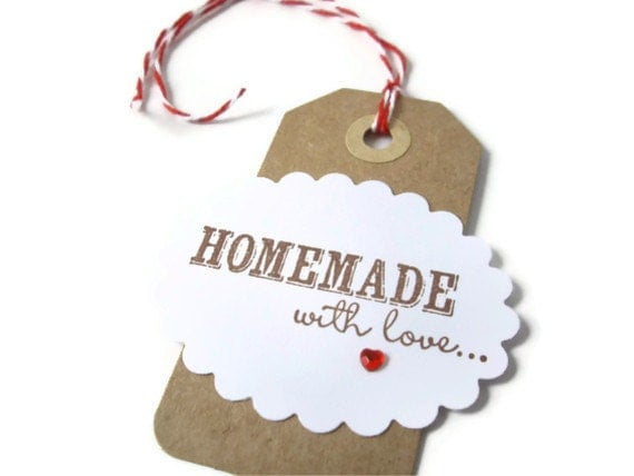 6 kraft gift tags homemade with love baked goods tag for Homemade baked goods for christmas gifts