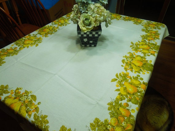 Vintage White with a Yellow Fruit design border Kitchen Dining Luncheon Table Cloth for housewares, home decor, linens by MarlenesAttic