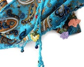 Blue Cotton Turkish Scarf With Traditional Lace
