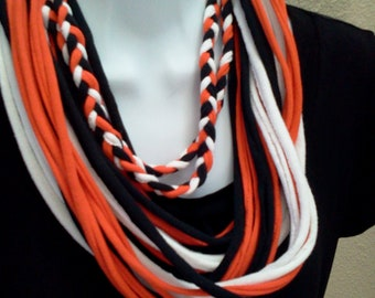 Recycled T Shirt Scarf Orange Black Team Colors Halloween