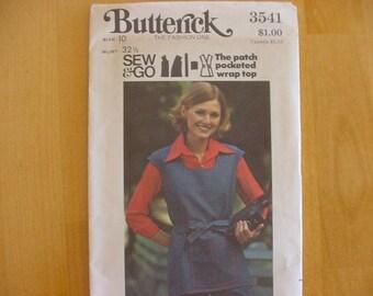 VINTAGE 1970s Butterick Pattern 3541 Misses Patch Pocket Wrap Top, Size 10 Bust 32 1/2 Uncut