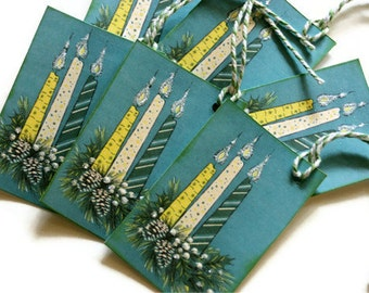 Retro Style Christmas Gift Tags Vintage Inspired Gift Holiday Mid Century Candles