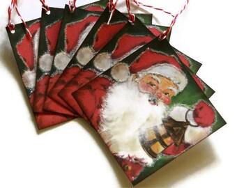 Christmas Gift Tags Retro Vintage Inspired Santa St Nick Glitter Set of 6
