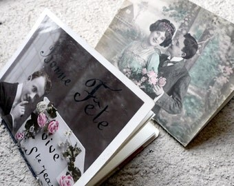 Mini Journal, Pocket Notebook, Bride & Groom Gift, Wedding Notebook Set, Bachelorette Notepad, Upcycled French Vintage Postcards