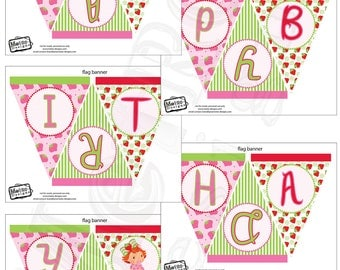 Baby Strawberry Shortcake Birthday Party Banner, Instant Download Party Files