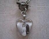 Custom Keepsake Photo Pillow Top Glass Heart  Necklace