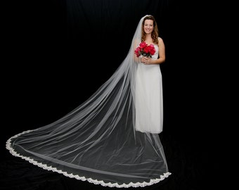 10' long Cathedral veil with lace trim