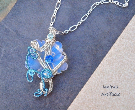 Opal carved flower wire wrapped pendant - OOAK