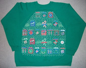 1980s 80s Green Presents Sweatshirt Rocking Horse Drum Tacky Gaudy Ugly Christmas Sweater Party X-Mas Winter Wonderland M medium L Large