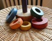 Vintage Wooden Stacking Toy in Primary (and Secondary) Colors