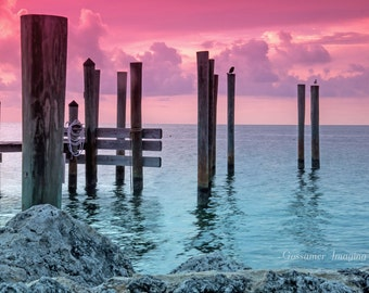 Pilings in the Bay at Sunset - One of Three