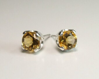 Citrine (Golden Citrine), 6mm x 0.72 Carat, Round Cut, Sterling Silver Post Earrings