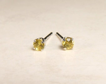 3mm Sapphires in Silver Settings, Genuine Yellow Sapphires, 3mm x 0.12 Carats, Round Cut, Sterling Silver Post Earrings