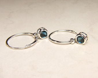 London Blue Topaz, 6mm x 0.97 Carat, Round Cut, Sterling Silver Dangle Hoop Earrings