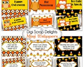 Halloween Printable Scripture Mini Candy Wrappers. Candy Corn, Owl in Yellow, Orange, Black Party Favors, Instant Download