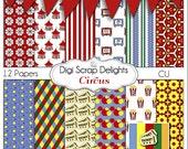 Digital Scrapbook Papers Circus - Bounus Free Banner, Instant Download