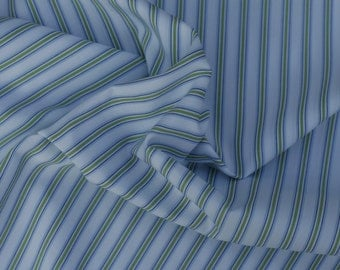 Blue and Green Stripes on  White Pima Cotton Fabric, 1 Yard