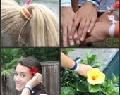 50 No Crease PonyTail Holders - Emi Jay Like Knotted Hair Bands - Elastic Ribbon Hair Ties - Gift For Her - Two of Each Color