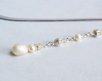 Pearl bookmark - freshwater pearls - beaded bookmark - cream bookmark - silver filigree - novelty bookmark - snowman bookmark